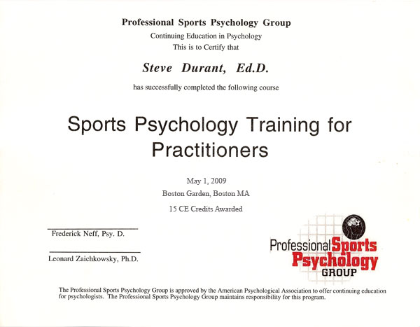Sports Psychology Training for Practioners Certificate